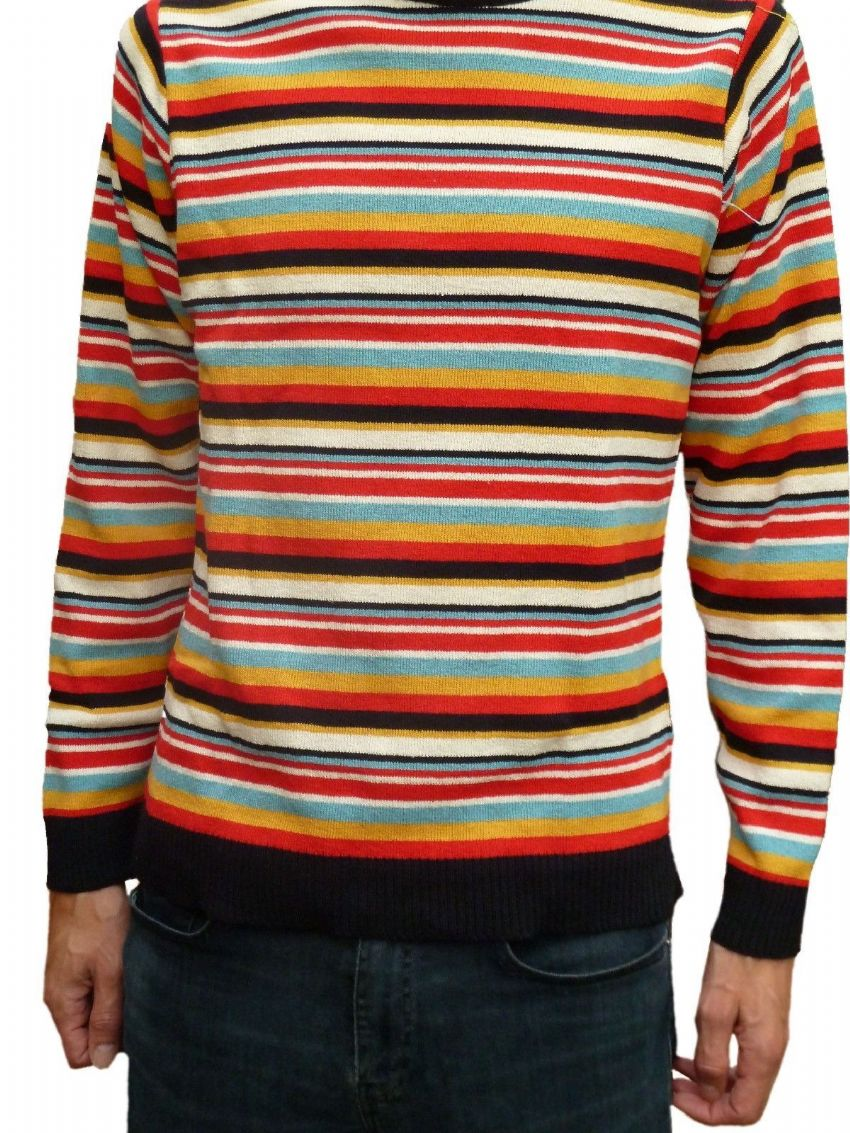 Mens Striped Rainbow Retro Jumper - Multi Stripe